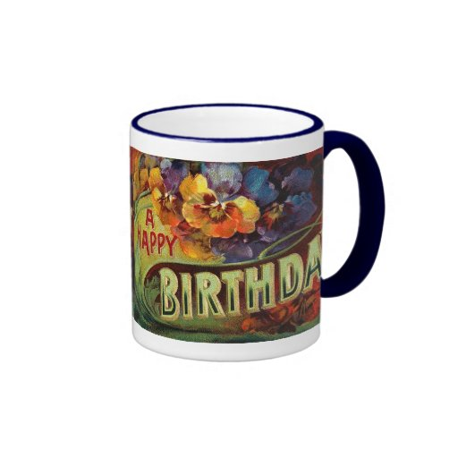 A Happy Birthday Vintage Painted Mugs
