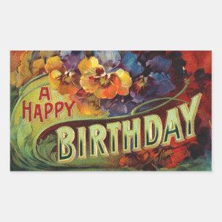 A Happy Birthday Vintage Painted Rectangular Sticker