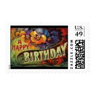 A Happy Birthday Vintage Painted Stamps