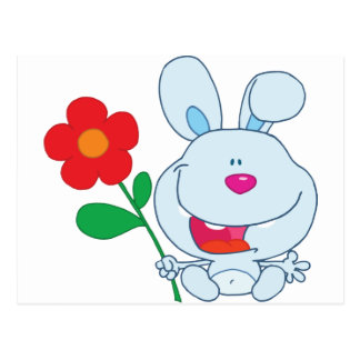 A Happy Bunny holds flower Postcard