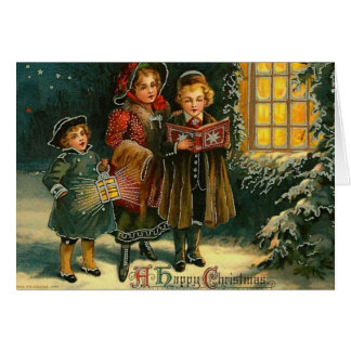 A Happy Christmas Carolers Greeting Card