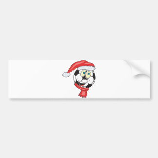 A happy christmas soccer ball wearing a santa hat bumper sticker