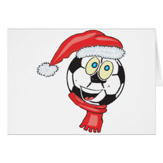 A happy christmas soccer ball wearing a santa hat card