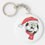 A happy christmas soccer ball wearing a santa hat key chains