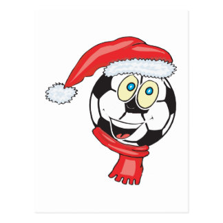 A happy christmas soccer ball wearing a santa hat postcard