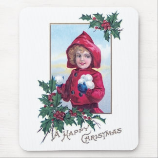 A Happy Christmas Vintage Card Design Mouse Pad