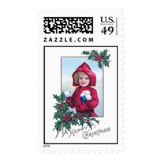A Happy Christmas Vintage Card Design Stamp