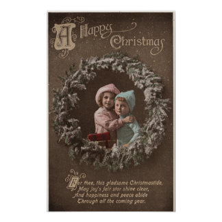 A Happy ChristmasLittle Kids Hugging Poster