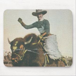 A Happy Cowboy on a Bucking Buffalo. Mouse Pad
