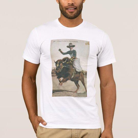 A Happy Cowboy on a Bucking Buffalo. T-Shirt