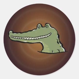 A happy crocodile classic round sticker