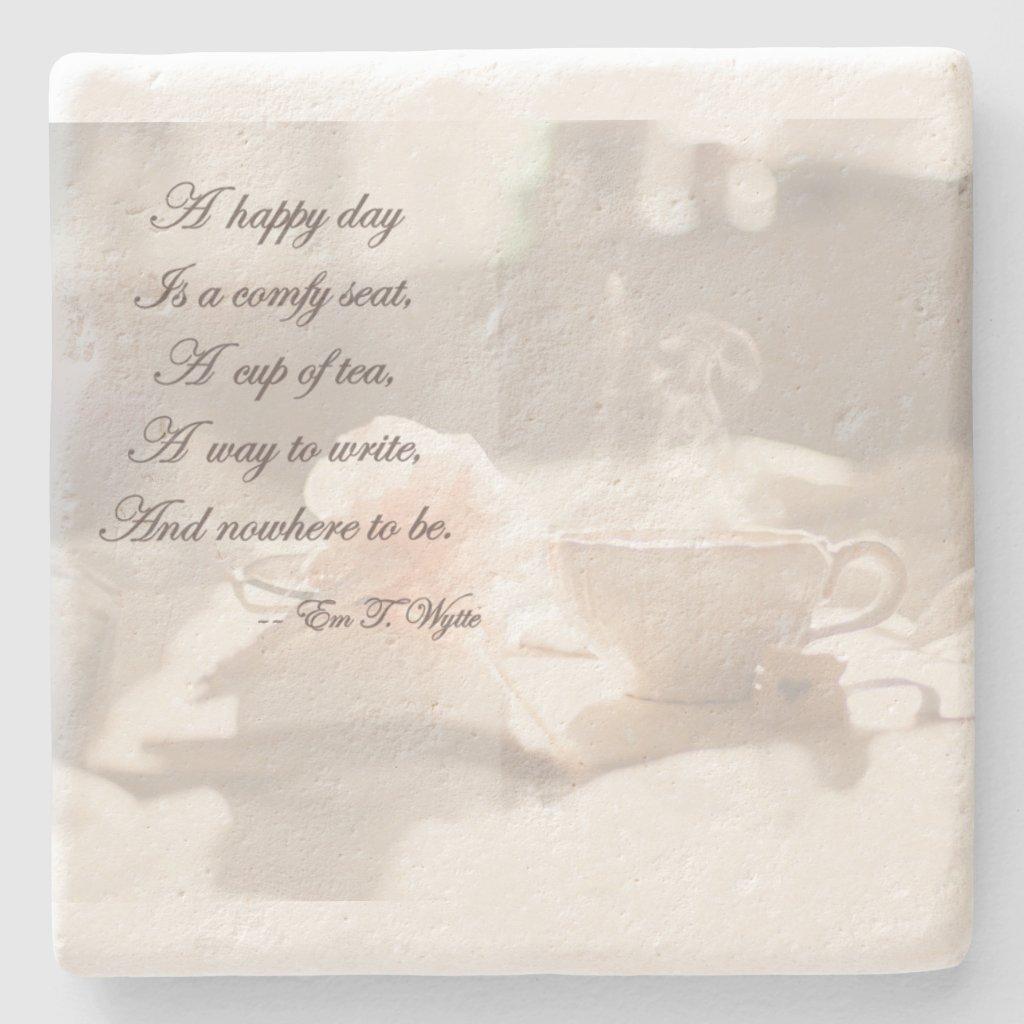 A Happy Day Writing Stone Coaster