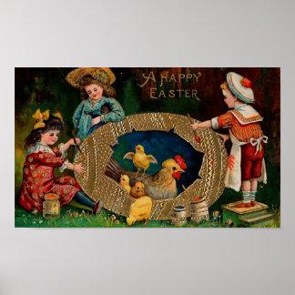A Happy Easter Vintage Easter Poster