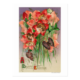 A Happy Easter with Women Head Flowers Postcard