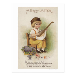 A Happy EasterBoy with Egg Shell Guitar Postcard