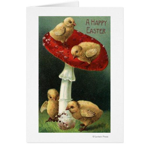 A Happy EasterChicks on Red Mushroom Card