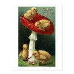 A Happy EasterChicks on Red Mushroom Postcard