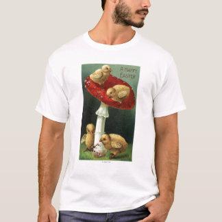 A Happy EasterChicks on Red Mushroom T-Shirt