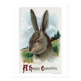 A Happy EastertideGray Rabbit Scene Postcard