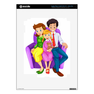 A happy family sitting on a couch decal for iPad 3
