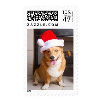 A happy, festive Pembroke Welsh Corgi Postage