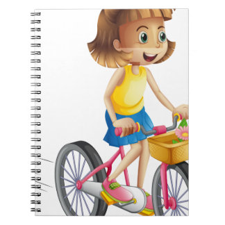 A happy girl riding a bike notebooks