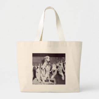 A Happy Greyhound with her Puppies 1955 by Nat Fei Jumbo Tote Bag