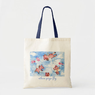 a Happy Herd of Flying Pigs Budget Tote Bag