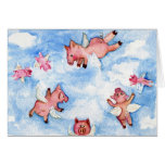 a Happy Herd of Flying Pigs CARD