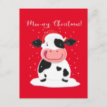 A Happy Holstein Cow Wishes You A Merry Christmas Postcard