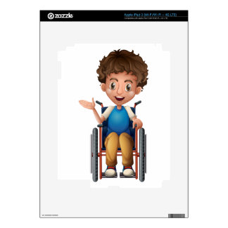 A happy man riding on a wheelchair decals for iPad 3