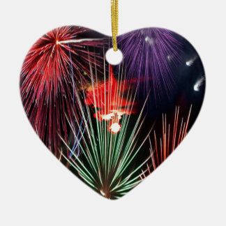 A Happy new Year For all People Double-Sided Heart Ceramic Christmas Ornament