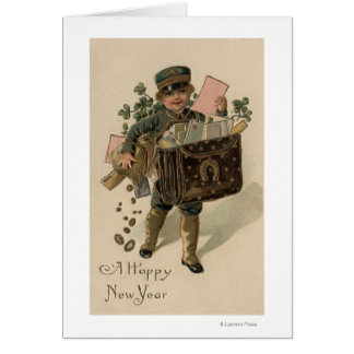 A Happy New YearIrish Mail Boy Greeting Card