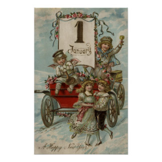A Happy New YearKids Around a Red Wagon Poster