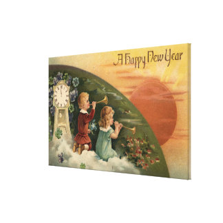 A Happy New YearKids Blowing Trumpets Canvas Print