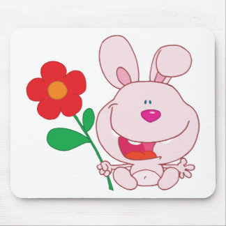 A Happy Pink Bunny holds flower Mousepads