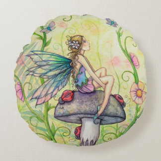 A Happy Place Fairy Fantasy Art Round Pillow