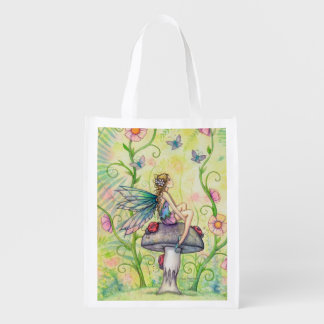 A Happy Place Flower Fairy Fantasy Art Grocery Bag