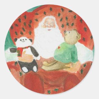 a happy santa classic round sticker