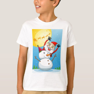A happy Santa Claus at the back of the snowman T-Shirt