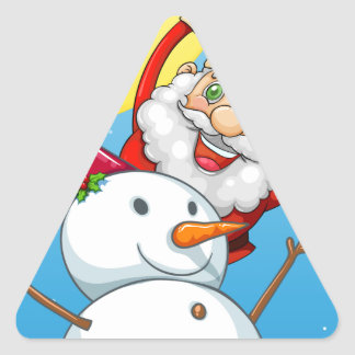 A happy Santa Claus at the back of the snowman Triangle Sticker