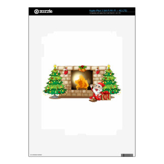 A happy Santa near the fireplace Decal For iPad 3