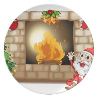 A happy Santa near the fireplace Plate