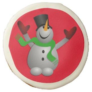 A Happy Snowman Sugar Cookie
