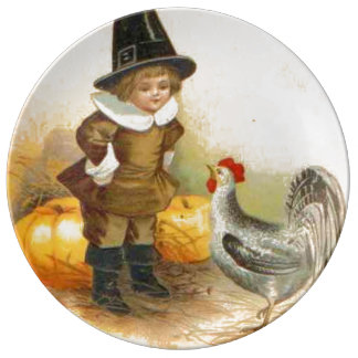A Happy Thanksgiving Pilgrim and Plymouth Rock Porcelain Plate