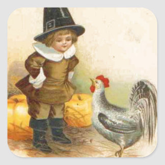 A Happy Thanksgiving Pilgrim and Plymouth Rock Square Sticker