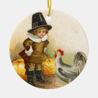 A Happy Thanksgiving Pilgrim and Vintage Ornament