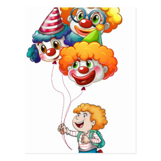 A happy young man holding clown balloons postcard