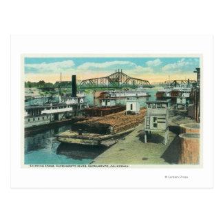 A Harbor Shipping Scene on Sacramento River Postcard