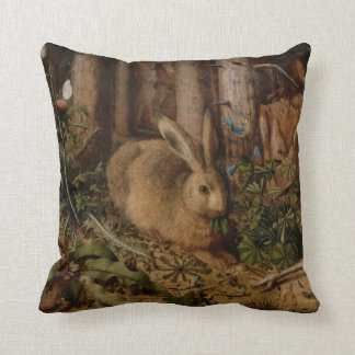 A Hare in the Forest Throw Pillows